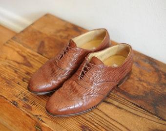 Vintage Nico Nerini Brown Woven Wingtip Oxford Shoes, Mens 8 / ITEM024