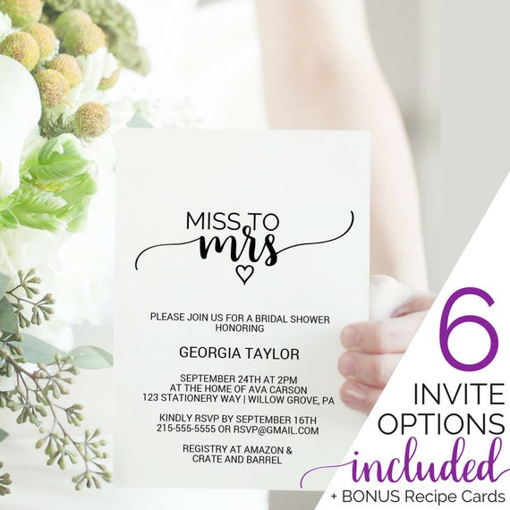 Printable bridal shower invitation template miss to mrs tea printable bridal shower invitation template miss to mrs tea party lingerie shower rustic wedding shower invites instant download k008 filmwisefo Choice Image