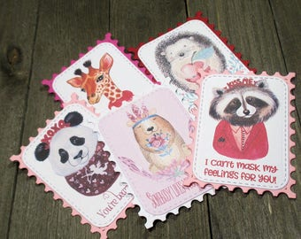 Animal Valentines - Set of 10 - Panda - Giraffe - Raccoon - Bear - Porcupine - Funny - Trending - Layered - Gift tags - Gift cards