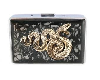 Snake Metal Wallet Inlaid in Hand Painted Enamel Inlaid in  Black Ink Swirl Design Credit Card Case Personalized and Color Options