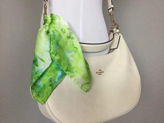 "16"" Silk Purse Scarf or Luggage Identifer, 100% Silk Satin,  Ice Dye Tie Dye Neon Yellow Green Lemon Lime Purse Scarves #222"