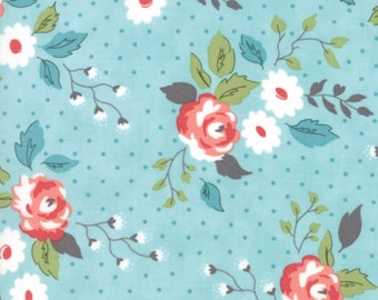 Nest - Floral Full Bloom Aqua Robins Egg by Leila Boutique from Moda