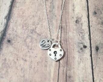 Heart padlock initial necklace - heart padlock jewelry, lock necklace, silver heart jewelry, Valentine's Day jewelry, silver padlock pendant