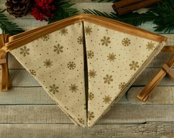 Christmas bunting, holiday banner, Christmas gold decoration, Christmas mantel, gold flag bunting, fabric decorations, Christmas party decor