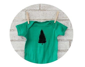 Pine Tree Baby Clothes, Short Sleeved Kelly Green Baby Onepiece, Onepiece Bodysuit, Hand Screenprinted Shirt, Cotton Infant Clothing, Nature