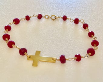 Ruby Gemstone Bracelet,Natural Red Ruby,Luxe AAA Ruby,24K Gold Vermeil Sideways Cross,Valentines,July Birthstone,Bridal,Cross,14K Gold Fill