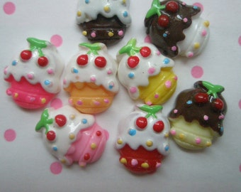 sale Cherry cupcake cabochons Set  8pcs