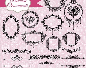 Damask Frames and Ornaments clipart and vectors, digital clip art and photoshop brushes: Instant Download