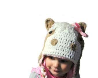 Horse Hat, Knit Girls Hat, Horse Bow Hat, Toddler Girls Hat, Infant Girls, Winter Hat, Baby Girl Hat, Girls Knit Hat, Crochet Horse Hat Kids