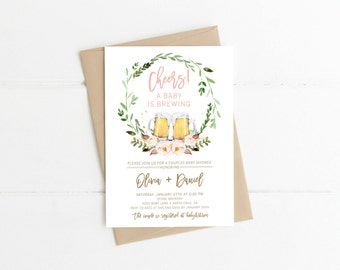 A Baby Is Brewing Invitation, Girl, Beer Baby Shower Invites, Couples Baby  Shower
