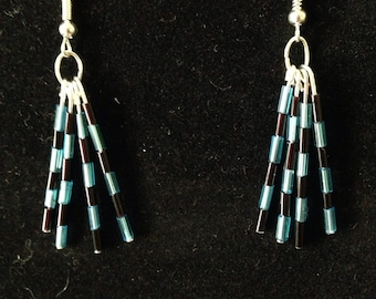 Blue and black tube bead dangle earrings