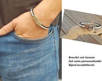 braided bracelet men leather black and white broken men leather bracelet for men gift