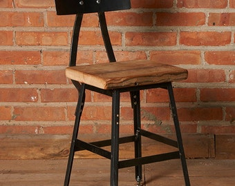 "Industrial chair bar stool (1) 18"" table height chair with back"