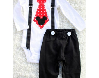 Mickey Mouse Birthday Tie and Suspenders Bodysuit, Black Pants w White Buttons SET Baby Boy 1st Birthday Outfit Party Disney Style Clothing