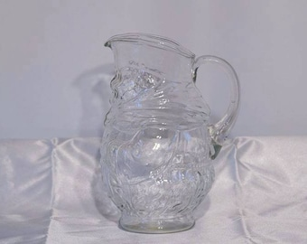 Vintage Clear Glass Kanawha Toby Table Jug Pitcher