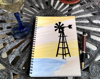 Hand Painted Cover; Spiral Notebook, Sketchbook; Premium Unlined Paper for Visual Journal; Writing, Sketching, Doodling; Windmill Silhouette