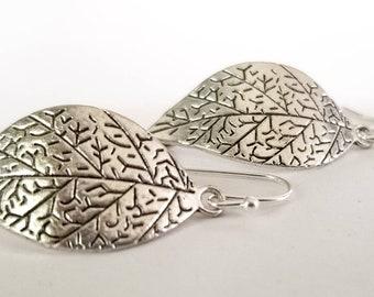Silver leaf earrings, leaf earrings, nature style earrings, gift for her, silver leaf jewelry
