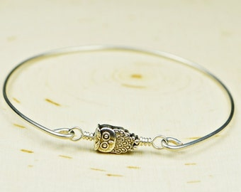 Tiny Owl Bangle Bracelet-  Silver Tone Owl and Sterling Silver Filled Wire Wrapped Bracelet- Custom Made to Size