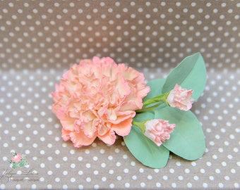 Peach carnation, Floral head piece, hair flower, wedding hair flowers, Bridal hair flower