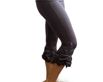 Yoga Capris Small Pants Charcoal Gray Shirred Ruched Bustle Steam Punk Ruffle