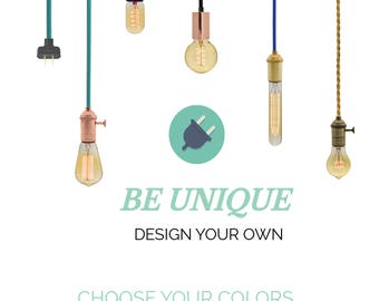 Plug in Pendant Light - Design Your Own - Any Custom Lengths and Colors