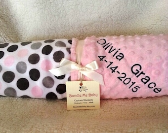 Baby Girl Polka Dot Pink and Gray Minky Blanket Embroidered - Double Sided Soft and Cuddly Baby Bedding Stroller Blanket