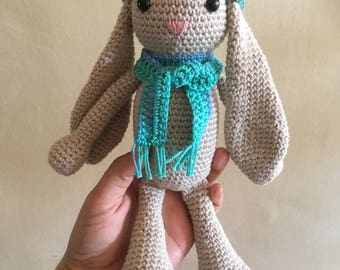 Bunny with hat and scarf - crochet Amigurumi