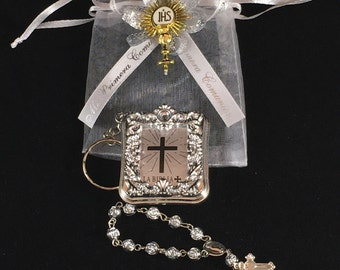 12 Mini Bibles And Rosary Personalized First Communion Favor  Primera Comunion Recuerdo Con Rosario Personalizado