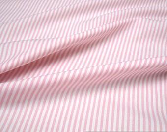 Fabric pure cotton roman's stripe pink white 2,5 mm small stripe