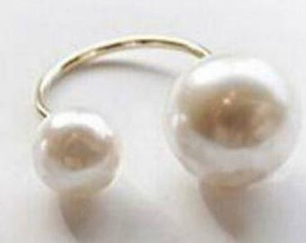Gold or Silver Open Front Faux Double Pearl Ring~ Perfect Gift for Ocean Lover~ Mermaid Lover~ Simple yet Elegant~ Perfect for Everyday Wear