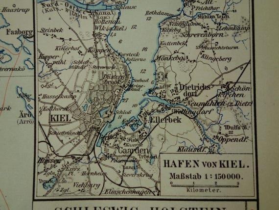 Old map of SchleswigHolstein 1906 original vintage poster