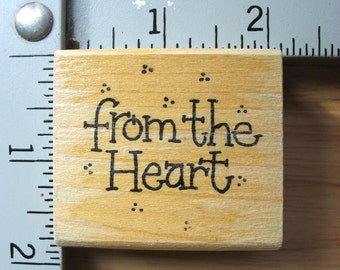 Azadi Earles From The Heart Sentiment DESTASH Rubber Stamp, Used Rubberstamp