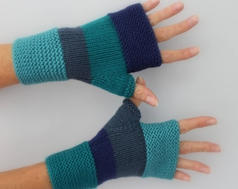 mittens gloves winter gloves, accessories, wool, hand knitted unisex, green Emerald, blue, Royal Blue, turquoise