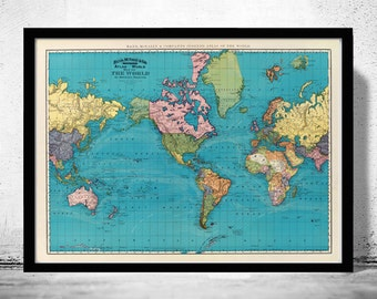 Old World Map Atlas Vintage World Map 1897 Mercator projection