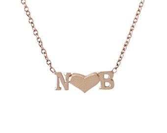 Personalized Double Name Initial Letter Sweetheart 14K Solid Gold Pendant Custom Charm Necklace {Unique Mother's Day Gift Ideas for Mom}