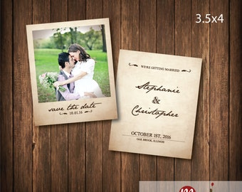 Vintage Wedding Photo Save the Date invitation