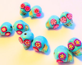 Turquoise and Pink Howlite Sugar Skull Beads-Collection of 10 Beads 5 Pairs