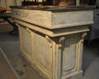 Distressed white antique repro counter /bar/reception desk/ hostess station