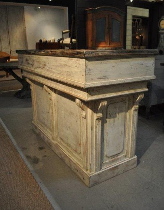 - Distressed White Antique Repro Counter /bar/reception Desk/