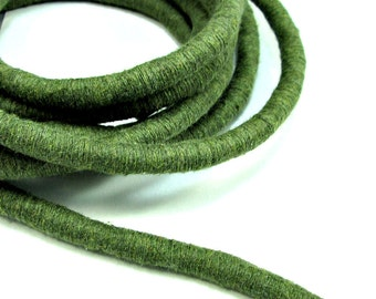 Colored cotton rope, cotton rope for crafting, cotton rope, cotton fiber cord, thick cotton rope, wrapped cotton cord, 12mm khaki cord 0.6m