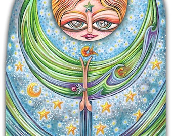 """Chantilly Swish - an 8 x 10"""" ART PRINT of a whimsical quirky water world goddess with magical water powers in a starry wavey filled night"""