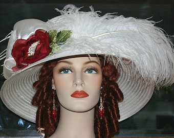 Kentucky Derby Hat, Ascot Hat, Edwardian Hat, Downton Abbey Hat, Somewhere in Time Hat, Red Rose Hat - Lady Florence