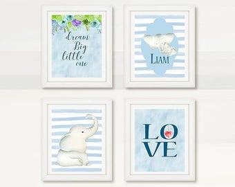 BEAUTIFUL Nursery Baby Elephant Wall Art, Blue Boy Nursery Room, Watercolor Elephant, Dream Big Little One, Wall Decor, Instant Download