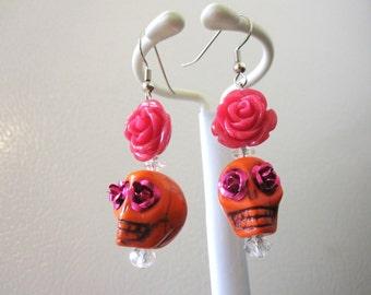 Orange Sugar Skull Earrings Hot Pink Rose Flower Day Of The Dead Jewelry
