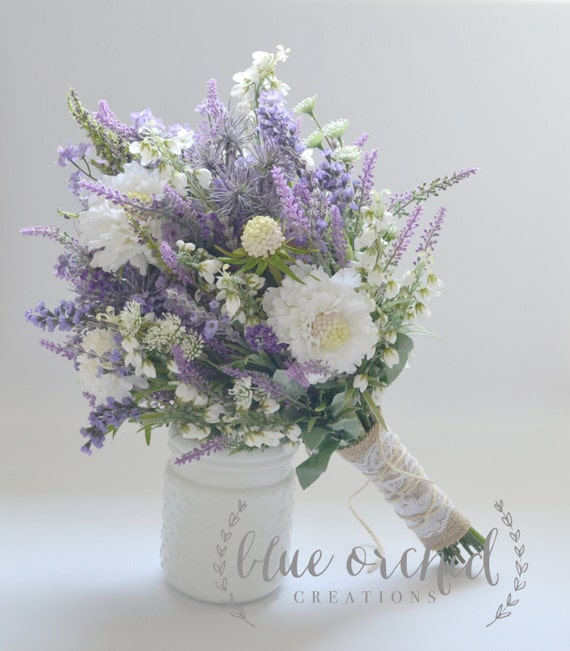 Wildflower Bridal Bouquet Rustic Bouquet Lavender