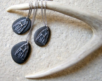 Black Beach Stone Necklace with Pewter Deer Charm and Vintage Stainless Steel Chain
