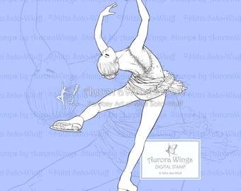 PNG Digital Stamp - Instant Download - Ice Flower - Figure Skater in Layback Spin - Fantasy Line Art Digi for Arts and Crafts - AuroraWings