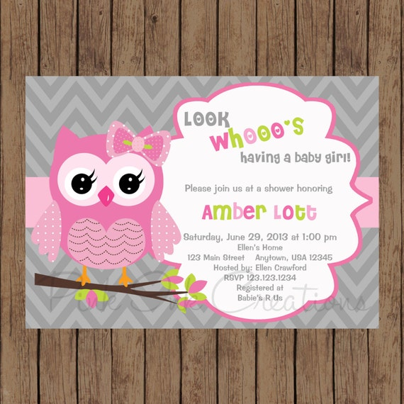 Owl birthday invitation pink gray owl baby shower invitation filmwisefo