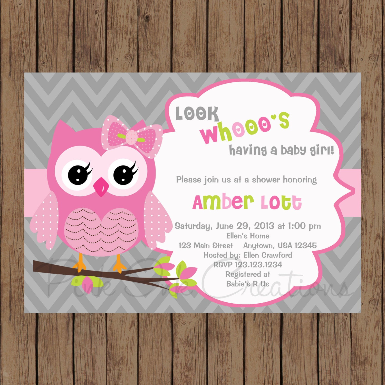 Owl Birthday Invitation / Pink Gray Owl Baby Shower Invitation
