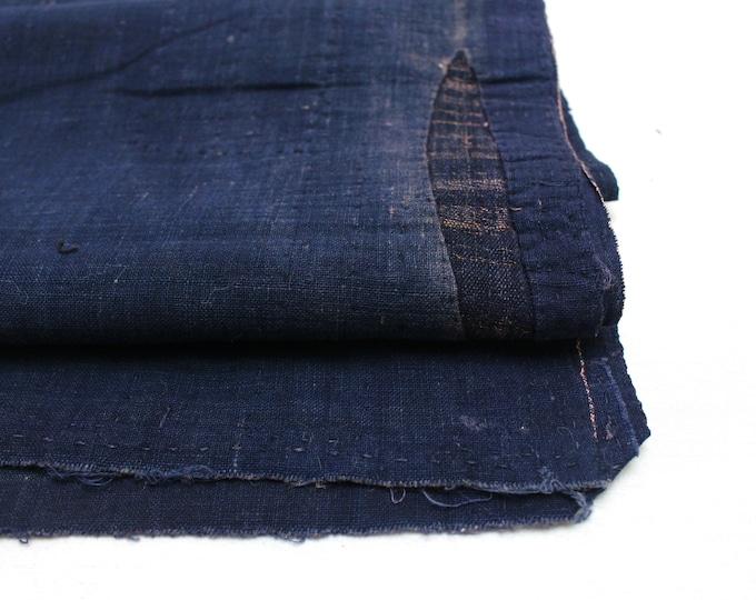 Japanese Indigo Boro Textile. Artisan Aizome Cotton Textile. Blue Vintage Folk Fabric (Ref: 1738)